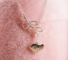 Love Bird Leaf Tree Necklace Silver Plated  w/ Gift Box Jewelry Vintage