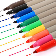 10 x BRANDED PERMANENT MARKER PENS ASSORTED COLOURS FELT TIP Mixed Colour
