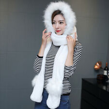 2016 Ladies Faux Fur Winter Warm Fluffy Hood Scarf Hat Snood Pocket Hats Gloves
