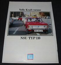 Auto Prospekt NSU Typ 110 / Typ110 mit 53 / 60 PS volle Kraft voraus 60er Jahre