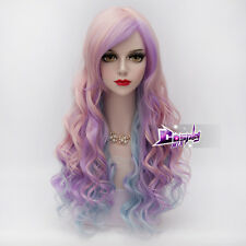 65CM Pink Mixed Blue Purple Long Curly Wig Lolita Harajuku Synthetic Cosplay Wig