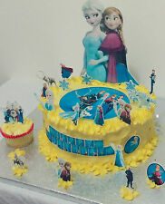Frozen Disney Princess personalizar Cup Cake, escena Toppers Oblea Comestibles Stand Up