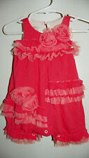 ISOBELLA & CHLOE Coral Pink One Piece Romper ~ Tulle ~ Cotton Poly Sz 3 Mos EUC