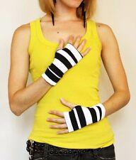 1226 Short Black White Striped Fingerless Gloves Steampunk Pirate Finger Holes