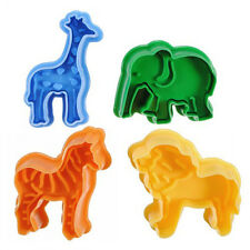 Chic Cute 4PCS Cookie Cakes Elephants Lions Giraffes Decorating Mould 3D