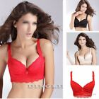 Women 3/4 Cup Padded Super Boost Push-Up Side Support Lace Brassiere Bra A B 34