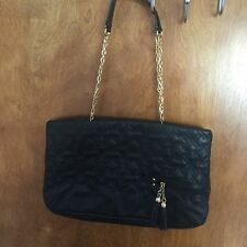 Tahari Black Purse With Gold Chain Handles