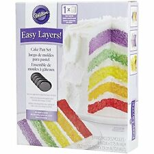 Wilton 5 Layer Cake Set, Grey Aluminum Easy Layers 6-Inch Round Baking Pan!