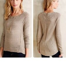 *NEW* MOTH ANTHROPOLOGIE STICH-MIX PULLOVER TAUPE HI-LOW SWEATER $88~XSMALL
