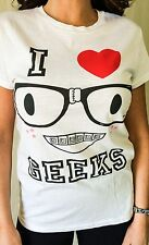 "Women's Juniors ""I Love Geeks"" White Funny Glasses Graphic T-Shirt L Large"