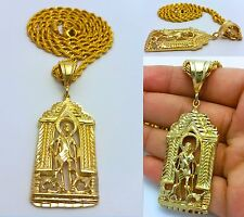 """MENS GOLD SAN LAZARO BABALU PENDANT 4MM 30"""" STAINLESS STEEL ROPE CHAIN NECKLACE"""