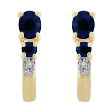 9ct Yellow Gold 0.52ct Natural Blue Sapphire & Diamond Hoop Earrings