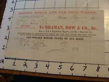 Original Vintage BILLHEAD: BOSTON STEAM & GAS PIPE WORKS, BRAMAN , DOW & CO 1875