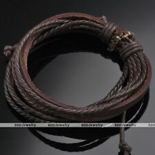 Real Cow Leather Brown Multi-layer Wrap Rope Unisex Bracelet Adjustable Punk