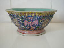 QIANLONG PORCELAIN BOWL, OCTAGONAL FAMILLE ROSE BOWL, PHOENIX DESIGN ON BLUE