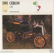 FICHE AUTOMOBILE GLACEE ITALIE CAR CEIRANO 5 HP 1901