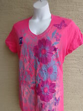 NWT Just My Size Graphic V Neck Tee Shirt Hot Pink with Glitzy Flowers 3X