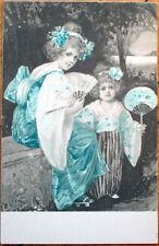 1903 Geisha Girl Postcard: Woman & Daughter, Japan/Japanese, Color Litho