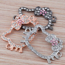 3PC mixed CZ Crystals HELLO KITTY Face frame Connector For DIY making
