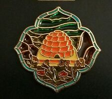 NAUVOO TEMPLE BEEHIVE Stained Glass Window Lapel Pin