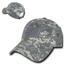 ACU Camo USA US American Flag United States America Army Polo Baseball Hat Cap
