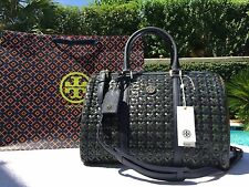 Tory Burch Robinson Woven Doreen Satchel Navy/Green /$795 NWT-THE LARGE ONE-MINT