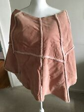 Wilsons Leather Maxima pink Suede Leather Faux Fur Poncho Cape/duster, Size L/XL