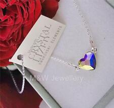 925 STERLING SILVER CHAIN NECKLACE SWAROVSKI Elements PENDANT HEART CRYSTAL AB