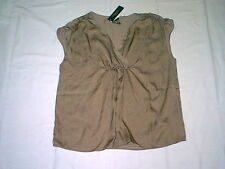 NEW $69 TALBOTS Washable Brown,Chinchilla Slvl Drapey Satin Top,Blouse Sz 12