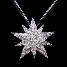Twinkling Big Star Use Swarovski Crystal 18K White Gold-Plated Necklace