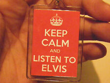KEEP CALM AND LISTEN TO ELVIS  LARGE   KEY RING