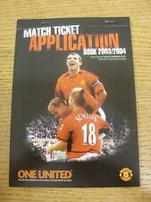 2003/2004 Manchester United: One United Members Match Ticket Application Booklet