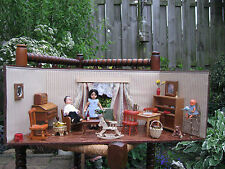 Antique 1940's Doll House German Pine Wood With Accessories German Ari Dolls