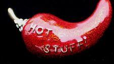 """VALENTINE LOVE HOT STUFF JALAPENO CAYENNE CHILI PEPPER PIN BROOCH JEWELRY 1.75"""""""