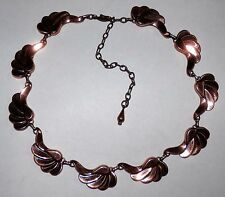 Vintage Mid Century Renoir Matisse Copper Necklace Choker Paisley Wing Leaf Link