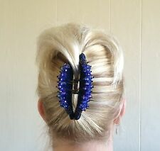 "DARK BLUE HAIR BARRETTE JAW CLIP CLAW LARGE-4""long,w. beaded crystals-NWT"