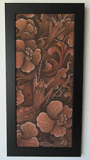 VINTAGE PENGOSEKAN BALI FLORAL PRAYING MANTIS TROPICAL PAINTING SIGNED SANA
