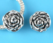2pcs silver rose flower Charm Spacer beads fit European Bracelet Chain #L14