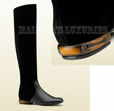 $1,195 GUCCI BOOTS LUCILLE BLACK LEATHER SUEDE BAMBOO LOW HEEL sz 38 / 8