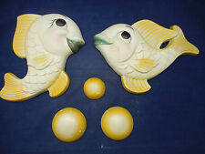 1964 Miller plaster fish with bubbles wall plaques, lg.