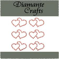 6 Red Diamante Double Hearts Vajazzle Rhinestone Body Art Self Adhesive Gem