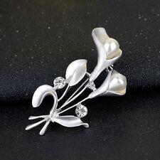 NiX 1523 Brooch Pearl Silver Plated Flower Butterfly Rhinestone Wedding Women