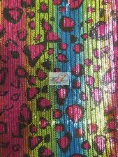 RAINBOW CHEETAH SEQUINS SPANDEX FABRIC - Multi Color - BY THE YARD SHINY COSTUME
