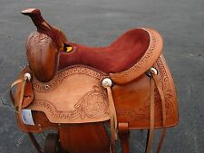 USED 15 16 ROPING ROPER COWBOY WADE PLEASURE TOOLED LEATHER WESTERN HORSE SADDLE