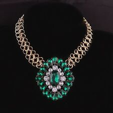 Vintage Big Emerald Green Crystal Pendant Chunky Statement Bib Necklace Choker