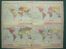 1921 LARGE MAP ~ WORLD POPULATION ~ RACES LANGUAGES OF COMMERECE RELIGIONS