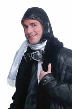 Deluxe Brown Vinyl Aviator Helmet Fighter Pilot Hat Adult Costume Accessory