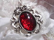 HALLOWEEN ruby RED GLITTER BLOOD Dragons BREATH Dragon Silver Necklace Pendant