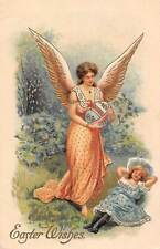 "Embossed: ""Best Easter Wishes"" Angel, Giant Egg, Beautiful Woman, Girl"