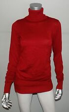 THE LIMITED NEW Red Ruched Long Sleeve Lightweight Turtleneck Tunic Sweater sz M